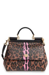 Dolce And Gabbana Medium Miss Sicily Leo Stripe Satchel