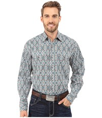 Stetson Mirror Tile Print Brown Men's Long Sleeve Button Up