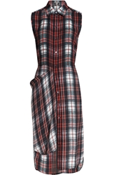 Mcq By Alexander Mcqueen Plaid Silk Shirt Dress