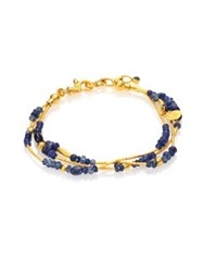 Gurhan Delicate Rain Blue Sapphire And 24K Yellow Gold Triple Strand Bracelet Gold Blue Sapphire