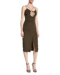 Cushnie Et Ochs Lace Up Sleeveless Pencil Dress Dark Green Moss
