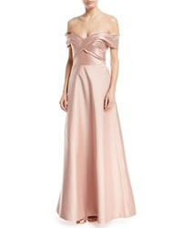 Theia Metallic Stretch Crisscross Off The Shoulder Gown Pink