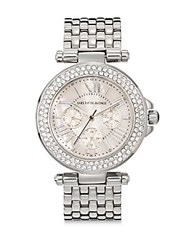 Saks Fifth Avenue Mother Of Pearl Swarovski Crystal And Stainless Steel Watch Silver