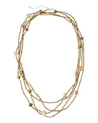 Nakamol Long Four Strand Pearl And Crystal Beaded Necklace Gold