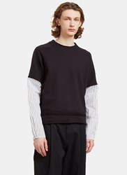 Aganovich Striped Poplin Sleeve Jersey Sweater Black