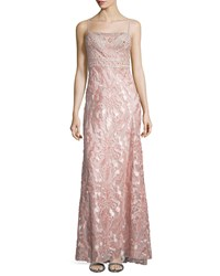 Sue Wong Embellished Bodice Column Gown Rose Pink Women's