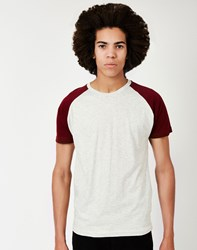 The Idle Man Short Sleeve Raglan T Shirt Burgundy