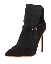 Sophia Webster Lucia Suede Ankle Sock Booties Black