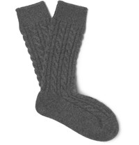 Kingsman Corgi Cable Knit Cashmere Socks Gray