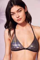 Out From Under Foil Triangle Racerback Bikini Top Silver