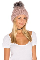 Eugenia Kim Rain Beanie With Artic Fox Fur Pompom Pink