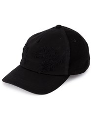 Ca4la Feather Embroidered Cap Black
