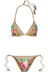 Camilla Reversible Embellished Printed Triangle Bikini Yellow