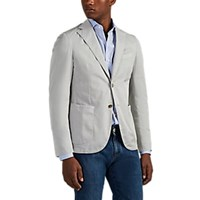 Barneys New York Washed Cotton Two Button Sportcoat Light Gray