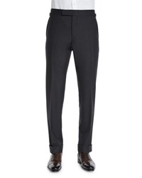 Tom Ford O'connor Base Flat Front Sharkskin Trousers Charcoal
