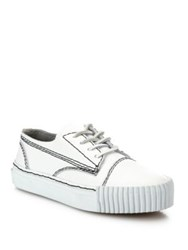 Alexander Wang Perry Leather Low Top Sneakers Optic White