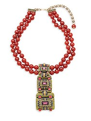 Heidi Daus Carnelian Stack Necklace Red