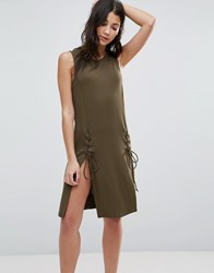 First And I Dress With Lace Up Detail Dark Olive Green