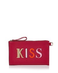 Longchamp Kiss And Love Kiss Me Flat Leather Cosmetic Pouch Fuchsia Gold