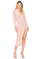Michelle Mason X Revolve Long Sleeve Wrap Dress Blush