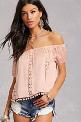 Forever 21 Crochet Off The Shoulder Top Seashell Pink