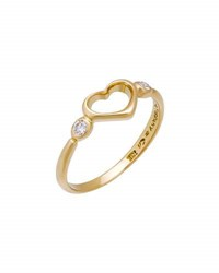 Tiffany And Co. Estate 18K Yellow Gold Diamond Heart Ring Size 5