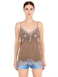 Pink Memories Silk Crepe Top With Lace