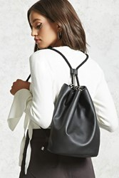 Forever 21 Faux Leather Bucket Backpack Black