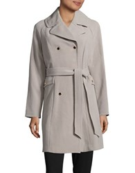 Eliza J Solid Double Breasted Trench Coat Grey