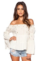 Bohemian Bones Mirror Embroidery Magnolia Top Taupe