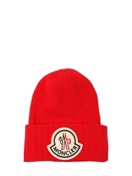 Moncler Logo Wool Tricot Knit Hat Red
