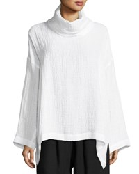 Eskandar Textured Linen Turtleneck Top White