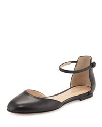 Gianvito Rossi Leather D'orsay Ankle Strap Flat Black