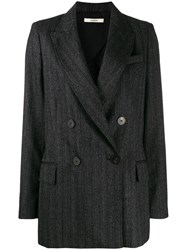 Odeeh Pinstriped Double Breasted Blazer Grey