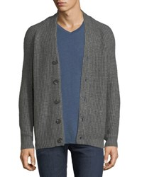 Velvet Chunky Knit Button Front Cardigan Gray