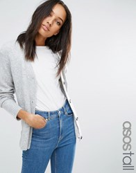 Asos Tall Cardigan In Wool Mix Grey