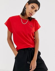 Cheap Monday Screen T Shirt With Tiny Skull Logo Red