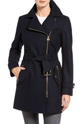 Michael Michael Kors Women's Belted Asymmetrical Wool Blend Coat Navy