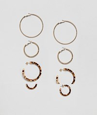 Stradivarius Set Of 4 Gold And Carey Earrings