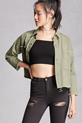 Forever 21 Cropped Military Jacket Olive