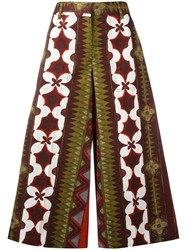 Valentino Cuban Flower Print Palazzo Pants Red