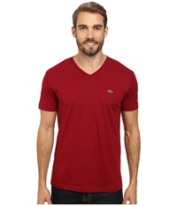 Lacoste S S Pima Jersey V Neck T Shirt Bordeaux Men's Short Sleeve Pullover Burgundy