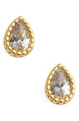 Jules Smith Designs Women's Micro Teardrop Stud Earrings Yellow Gold Clear