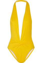 Norma Kamali Twister Plunge Swimsuit Yellow