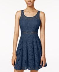 American Rag Lace Illusion Skater Dress Only At Macy's Dark Denim