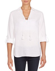 Lord And Taylor Lace Up Linen Tunic White