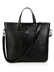 Santiago Gonzalez Crocodile Tote Navy Grey Black