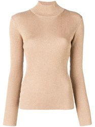 Diane Von Furstenberg Dvf Fitted Basic Jumper Gold
