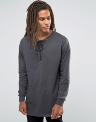 Asos Oversized Long Sleeve T Shirt With Lace Up Collar Black