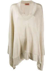 Missoni V Neck Metallic Knit Poncho Neutrals